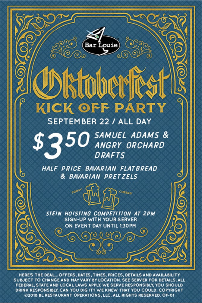 "Oktoberfest ""Kick-Off"" at Bar Louie Saturday September 22nd"